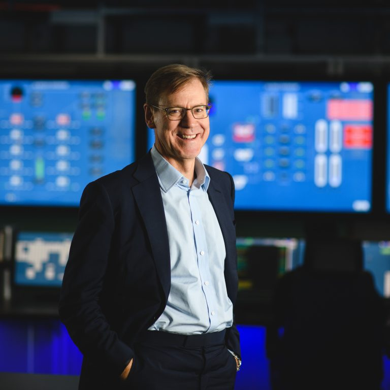 Drax Group CEO Will Gardiner in the control room at Drax Power Station