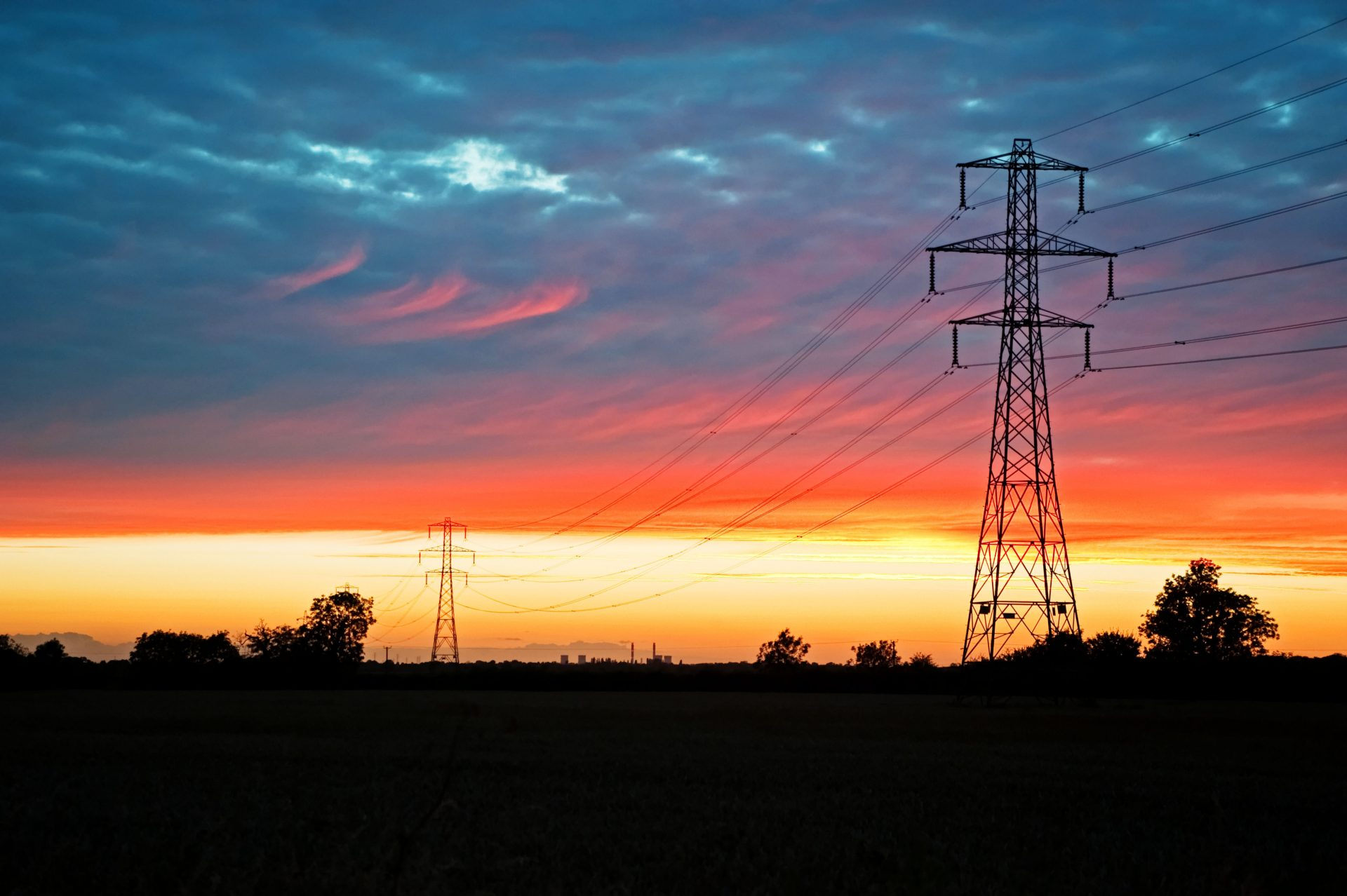 Electricity pylons, Lincolnshire, UK