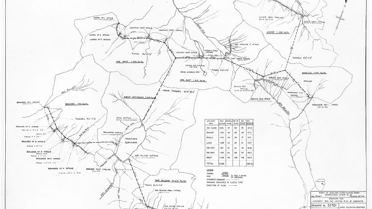 A North of Scotland Hydro-Electric Board diagram from c.1960s showing the aqueducts feeding Cruachan's dam; click to view/download.