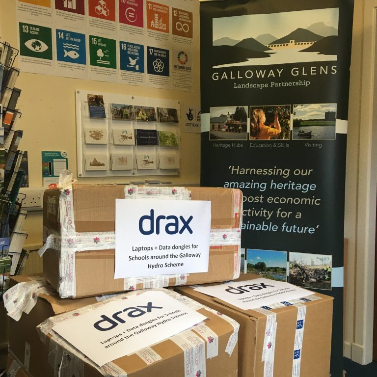 Drax laptops and dongles arrive in Dumfries and Galloway.