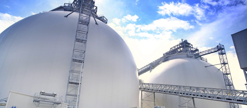 Biomass domes on a sunny day