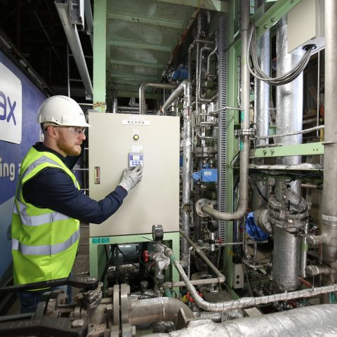 MHI BECCS pilot plant within CCUS Incubation Area, Drax Power Station, North Yorkshire